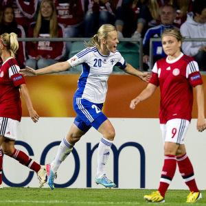 Annica Sjölund gjorde Finlands enda mål vid EM i Sverige 2013.