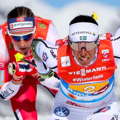 Charlottes Kallas insats på den tredje sträckan mot Astrid Jacobsen var starkt bidragande till att Sverige vann VM-stafettguld i Seefeld 2019.