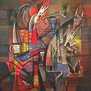 Jeanne Mammen. Trompetender Hahn (Trumpetande tupp), ca1943-45