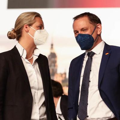 Alice Widel och Tino Chrupalla i munskydd pratar med varandra.