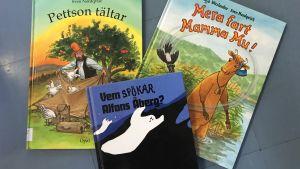 Böcker med Pettson och Findus, Mamma Mu och Alfons Åberg.