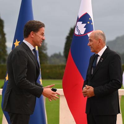 Nederländernas premiärminister Mark Rutte hälsar på sin slovenska kollega Janez Janša i samband med toppmötet i  Brdo i den 5 oktober. I bakgrunden ser man Sloveniens och EU:s flaggor.