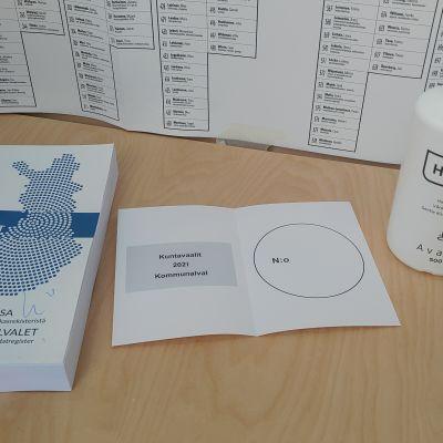 kuntavaalit 2021 ennakkoäänestys äänestyslipuke äänestyskoppi ehdokasluettelo helsinki stoa itäkeskus