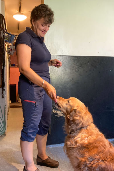 En kvinna ger godis åt en beige hund.
