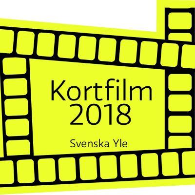 En logo i gult och svart med texten Kortfilm 2018 är symbol för tävlingen.