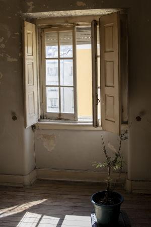 Ett öppet fönster i Marias lägenhet. Utanför skiner solen.