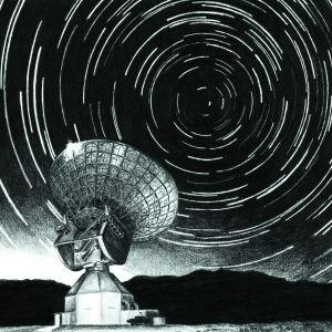 Ett radioteleskop och stjärnor.