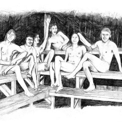 Teckning av människor i bastun.