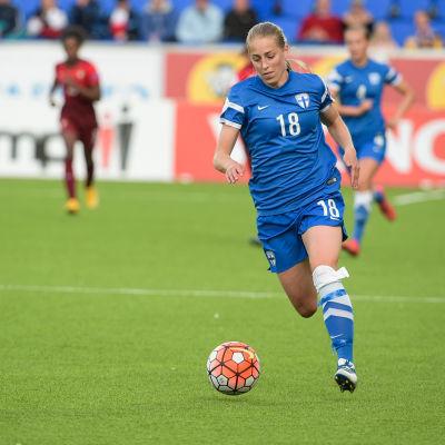 Linda Sällström i Finlands hemmamatch mot Portugal i juni 2016.