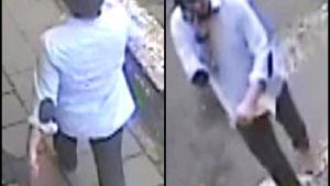 I bilderna från en övervakningskamera ser man den misstänkta mannen i blå skjorta.