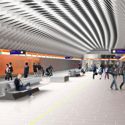 Arkitektens illustration av Mattby metrostation.