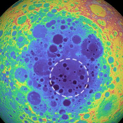 Månkratern Aitken vid månens sydpol.