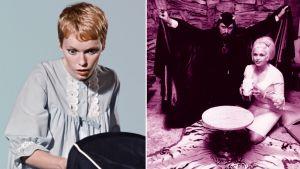 Kuvakooste: Mia Farrow (vasemmassa kuvassa) sekä Anton La Vey ja Jayne Mansfield (oikeassa kuvassa).