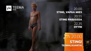 Sting-teemaillan mainos. Kuvakaappaus.