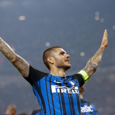 Mauro Icardi gjorde tre mål i derbyt i Milano.