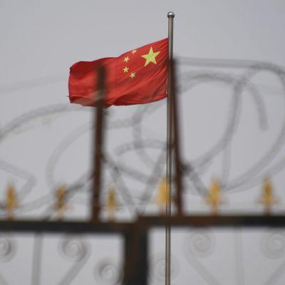 Taggtråd i förgrunden och Kinas flagga i bakgrunden.