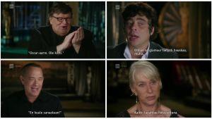 Michael Moore, Benicio Del Toro, Tom Hanks ja Helen Mirren dokumenttielokuvassa Ja Osacrin saa... Kollaasi kuvakaappauksista.