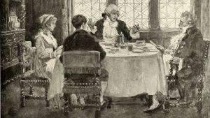 Mustavalkoinen piirros kolmesta miehestä ja yhdestä naisesta jotka keskustelevat pöydän ääressä.