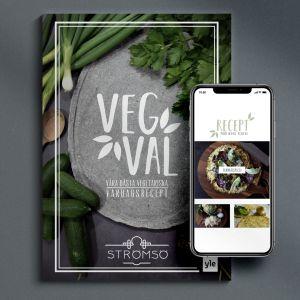 Vegvals kokbok utskriven. På boken ligger en mobil som visar den digitalt.