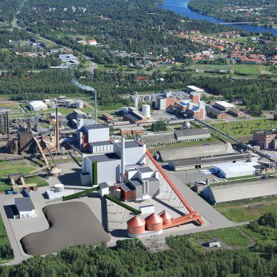 Ouluun suunnitteilla olevan biovoimalaitoksen havainnekuva