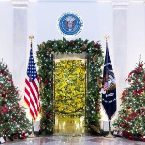 Julpynt i Vita huset i USA.