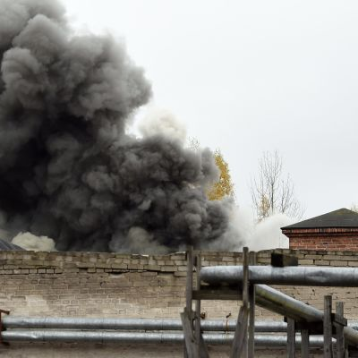 Brand i Mosabacka tapetfabrik i Helsingfors.