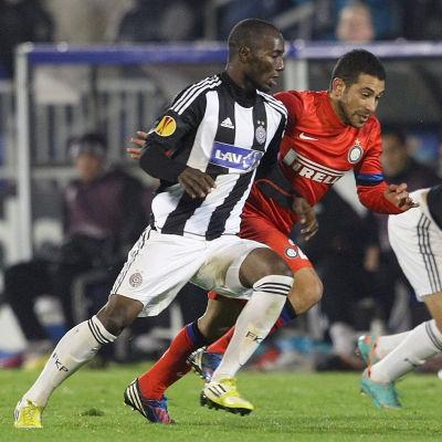 Medo har efter flytten från HJK bland annat spelat i de europeiska cuperna för Partizan Belgrad, här mot Inter Milan.