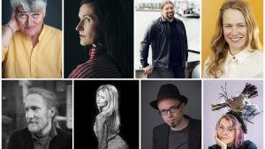 Ett kollage med porträtt på flera personer i olika åldrar. Vissa av bilderna är i färg, andra svartvita.