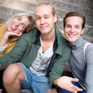 Kuvassa Thelma Siberg, Joel Bonsdorff ja Valtteri Lehtinen
