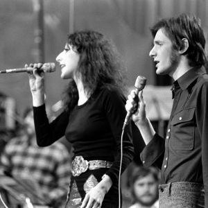 Muska ja George Euroviisujen karsinnassa vuonna 1974.