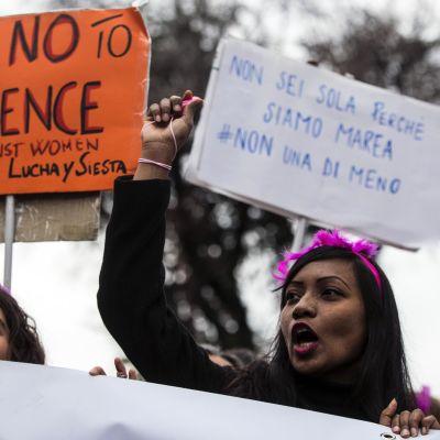 Demonstration mot våld mot kvinnor i Italien, Rom.