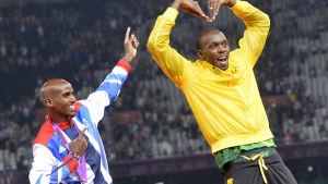 Mo Farah och Usain Bolt poserar.