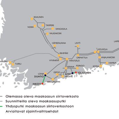 Gasums karta visar naturgasnätet i Finland och planerade terminaler och linjer.