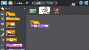 I spelet Tynker blir kodningen lätt tack vare den tydliga tidslinjen.