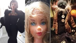 Kolme kuvaa Barbieista: Givenchy-malli, lähikuva 1960-luvun lopun Barbiesta ja omatekoinen Osmo, mies-Barbien korvike.