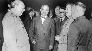 Winston Churchill och Josef Stalin.