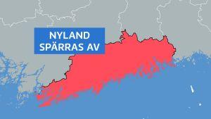 Karta där man ser hur Nyland spärras av från resten av Finland.