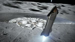Konstnärs återgivning av en SpaceX-rymdraket som lyfter från en bas på månen.