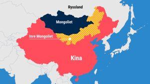 Karta över Kina och Inre Mongoliet.