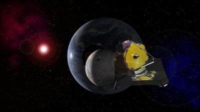 Konstnärens vision av James Webb-rymdteleskopet i rymden.