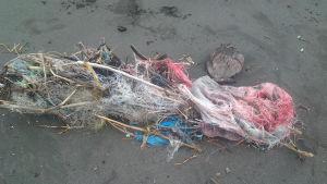 Rantaan ajautunut muovinen kalaverkko Filippiineillä