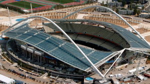 en bild tagen från luften av den olympiska stadion i aten
