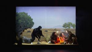 Eri ihmislajien edustajia lämmittelee savannilla nuotion ääressä. Nuotion laidalla iso apina katsoo kauempaa.
