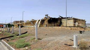 En lagerlokal som skadades i branden vid kärnenergianläggningen i Natanz förra torsdagen.