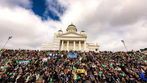 Demnstranter på trapporna vid Domkyrkan i Helsingfors.