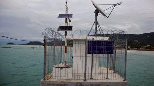 Havsvattenståndet övervakas ständigt i Thailand. Här med det finlänska företaget Vaisalas utrustning.