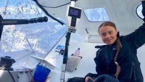 Greta Thunberg på segelbåten Malizia II på väg över Atlanten 24.8.2019