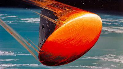 Apollo återvänder till jorden efter månfärden.