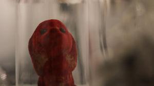 Röd leksakshund i glaskupa.