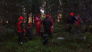 Johanna Borg och andra jägare ute i skogen.